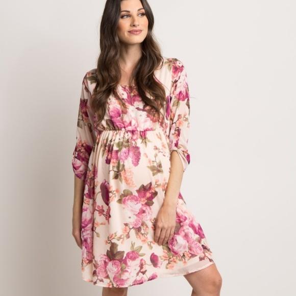 Pinkblush Dresses & Skirts - Pinkblush floral chiffon maternity dress